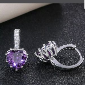 8 Colors CZ crystal trendy earrings Silver new